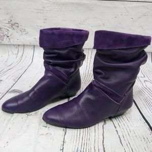 Purple 80s leather and suede slouch booties